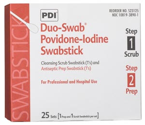 Duo-Swabs, 1 PVP Iodine Scrub & 1 PVP Iodine Prep Swab in a Connected Packet, 2/pk, 25 pk/bx, 10 bx/cs