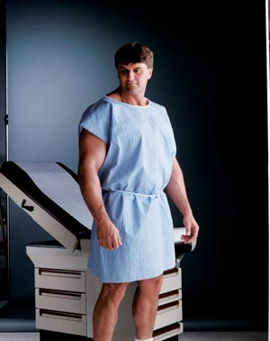 "Graham Medical 228 Exam Gown 30 x 42"" Scrim Reinforced Glued Shoulders Separate Belt Tie Blue 50/cs"