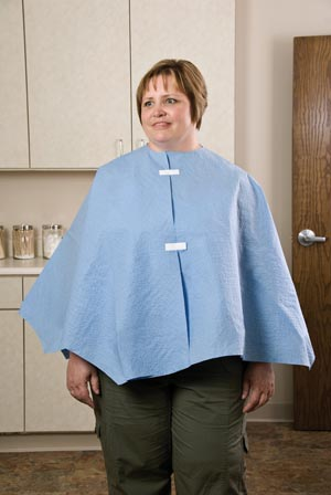 "Graham Medical 15568 Exam Poncho Extra Coverage Blue 56 x 28"" 25/cs"
