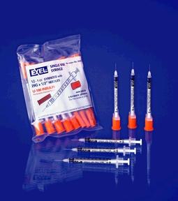 Exel 26026 Insulin Syringe & Needle 28G x ½ ½cc 10/bg 10bg/bx 5bx/cs
