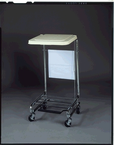 "Silver Hamper Stand, 19"" x 21"" x 36"", Step-On Foot Pedal"