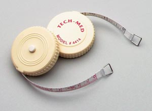 "Tape Measure, 72""L,   1/4""W, Linen-Like Fiberglass, White Plastic Case, Push Button to Retract Tape, English Scale, Reverse Side Metric, 6/bx"
