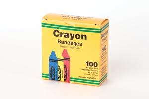 "ASO CRA5261 Crayola Bandages 3/4 x 3"" Strips Latex Free (LF) Assorted (red yellow & blue) 100/bx 12 bx/cs"