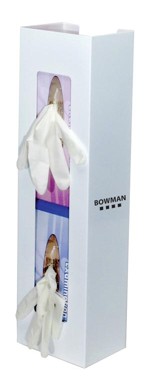 "Bowman GB-067 Glove Box Dispenser Double Space Saver Holds Two Boxes of Gloves (End-to-End) Two-Way Keyholes For Vertical or Horizontal Wall Mounting White Powder Coated Steel 5 5/8W x 20 1/16""H x 3 15/16""D 4/cs (Made in USA)"