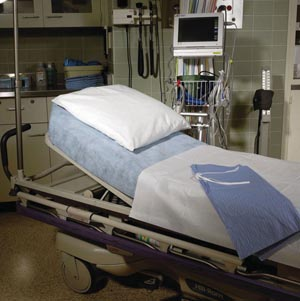 "Graham Medical 49896 SnugFit Large Fitted ER Stretcher Sheet Blue Non-Woven 40 x 89"" 25/cs"