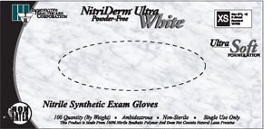IHC 167050 Gloves Exam X-Small Nitrile Non-Sterile PF Textured ThinFilm White 100/bx 10bx/cs