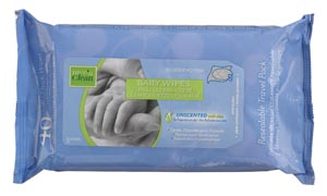 "Baby Wipes (Unscented), 7"" x 8"", 40/pk, 12 pk/cs"