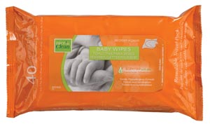 """Baby Wipes (Scented), Resealable, 7"""" x 8"""", 40/pk, 12 pk/cs"""