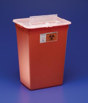 "Cardinal Health 31143665 Container 10 Gal Red Split Lid Sharps Port Large Volume 15½H x 12""D x 21½""W 6/cs"
