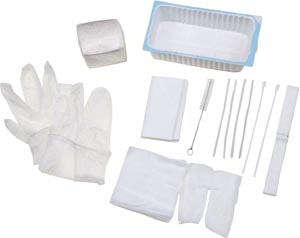 Amsino AS860 Tracheostomy Care Tray Contains: 500mL Tray Cleaning Brush (2) 4x4 Gauze Sponges (2) Pipe Cleaners Vinyl Gloves (2) Cotton-Tip Applicators Twill Tape Trach Dressing Waterproof Drape Popup Basin 20/cs