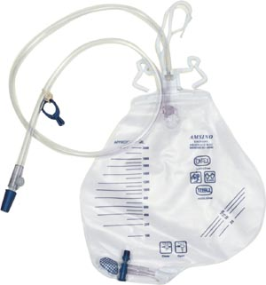 Amsino AS322 Drainage Bag 2000mL Anti-Reflux Chamber Pre-Pierced Needle Free Sampling Port (Luer Slip or Blunt Cannula Compatible) Universal Double Hook & Rope Hanger T-Tap Drain Port Sterile Fluid Pathway 20/cs