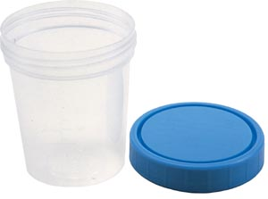 Amsino AS341 Specimen Container Screw On Lid & Tamper Evident label 4 oz Sterile 100/cs