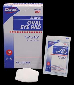 "Dukal 841 Eye Pad Oval 1 5/8 x 2 5/8"" Sterile 50/bx 12 bx/cs"