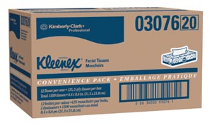 Kimblery-Clark 3076 Facial Tissue White 125/pk 12 pk/cs