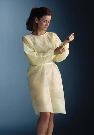 "Graham Medical 241 Isolation Gown 30 x 42"" Yellow Elastic Cuff 50/cs"