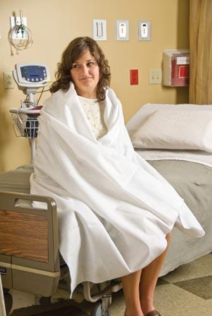 """Graham Medical 52038 ComFort1 Blanket 50 x 84"""" Disposable White Polyester 10/cs"""