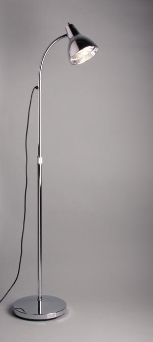 "Deluxe Exam Lamp. 12"" Flexible Gooseneck, Adjusts 34""-72"", Wire Guard & Heat Shield, Chrome"