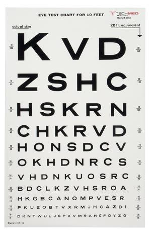 TEC 3062 Illuminated Snellen Eye Test Chart, 10 ft