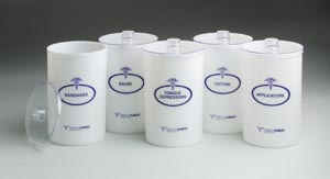 "Opaque Plastic Sundry Jars, Blue Imprint, Plastic Lids, 6-1/2""H x 4_""Dia, 5/set, 1 set/cs"