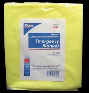 Dukal 7303 Emergency Blanket 54 x 80 Yellow Heavy Duty Fluid Impervious 1/bg 50 bg/cs