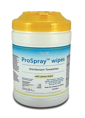 """Certol PSWC Disinfectant Wipes 6 x 6 3/4"""" 240/canister 12 can/cs"""
