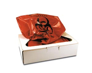 """Certol PW1505 Infectious Waste Collection Bag 12 Gal 17 x 7"""" x 30"""" 100/cs"""