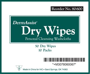 "IHC 80-600 Wipes Adult Spunlace Softpack 9 x 13"" 50 wipes/pk 10 pk/cs"