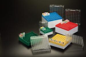 Storage Box, 3-4mL, 81 Places, Green, 3/pk, 4 pk/cs