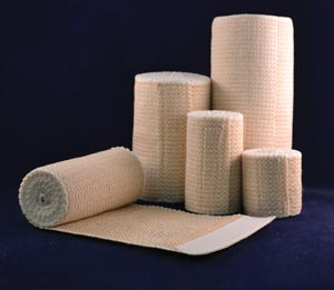Ambra Le Roy 90455 Premium Elastic Bandage 4 x 5 yds (Stretched) with Double Velcro Closure Tan/ White Honeycomb Latex Free (LF) 10/bx 5 bx/cs