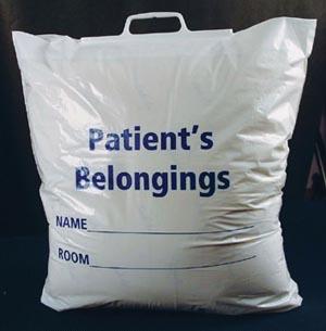 ADI Medical 40229 Patient Belonging Bag Plastic Rigid Handle 250/cs