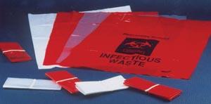 "ADI Medical 40855 Biohazard Bag with tie Red 12 x 6"" x 18"" 1000/cs"