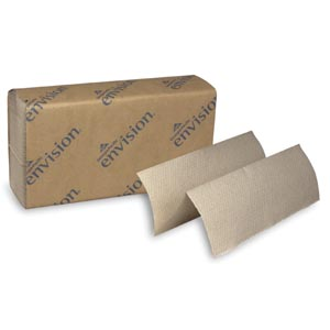 "Georgia-Pacific 23304 EPA Multifold Paper Towels Paper Band Brown 9¼ x 9½"" Sheets 250 ct/pk 16 pk/cs"
