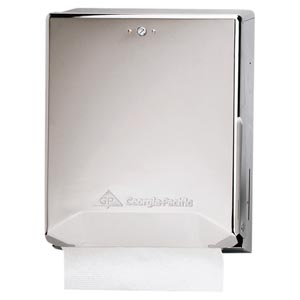 "Georgia-Pacific 56620 Chrome Combination C-Fold/ Multifold Paper Towel Dispenser 11¾W x 4.38""D x 15½""H 1/cs"