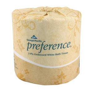 "Georgia-Pacific 18280 Embossed Bathroom Tissue 2-Ply White 4½ x 4.05"" 550 sht/rl 80 rl/cs"