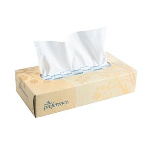 "Georgia-Pacific 48100 Facial Tissue Flat Box White 7.63 x 9"" 100 sht/bx 30 bx/cs"