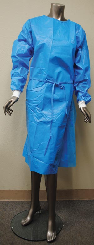 Chemo Gown, Polycoated Front & Sleeves, Blue, Universal Size, 10/bg, 3 bg/cs