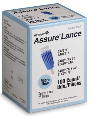 Arkray 980128 Lancet 28G x 1mm Light Blue 100/bx