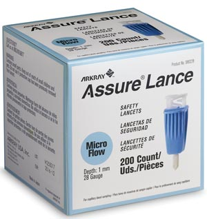 Arkray 980228 Lancet 28G x 1mm Light Blue 200/bx