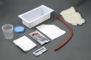 Amsino AS87114 Urethral Catheter Tray 14FR Red Rubber Urethral Catheter Sterile (This Item Contains Latex) 20/cs