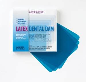 "Crosstex 19301 Dental Dam Heavy Blue  6 x 6"" Unflavored 36 sheets/bx"