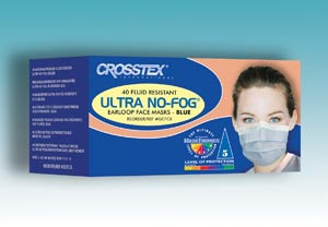 Crosstex GCFCX Mask Latex Free (LF) Blue 40/bx 10 bx/ctn