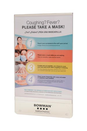 "Bowman MP-070 Sign Holder Vertical Holds 8 1/2W x 11""H Signage Hardware Included for Mounting on Respiratory Hygiene Stations Clear PETG Plastics (Made in USA)"