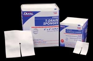 "Dukal 7468 T-Drain Sponge 4 x 4"" Sterile 16 Ply 1/pk 25 pk/tray 12 tray/cs"