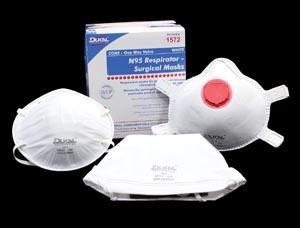 Dukal 1571 N95 Respirator & Surgical Mask White Cone 20/bx 20 bx/cs