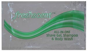 3-in-1 Shampoo/ Shave Lotion/ Body Wash, .33 oz packet, 100/bx, 10 bx/cs (Made in USA)