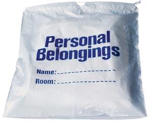 "Personal Belongings Drawstring Bag, 17"" x 20"", White Bag with Blue Imprinting, 250/cs"