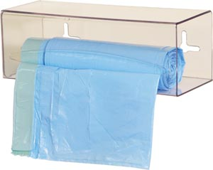 Bowman BG001-0111 Bag Dispenser Single Holds One Roll of Bags up to 9 Long Two-Way Keyholes For Vertical Or Horizontal Wall Mounting Clear PETG Plastic  12/cs (Made in USA)