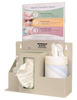 Bowman ED-097 Infection Prevention Organizer Holds (1-2) Boxes of Tissue or (1) Box of Gloves (1) Hand Sanitizer Bottle & a Variety of Sizes of Wet Wipe Canisters