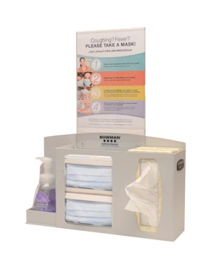 Bowman RS001-0212 Respiratory Hygiene Station Holds Two Boxes of Face Masks (1-2) Boxes of Facial Tissues (1) Hand Sanitizer Bottle Optional Sign Holders MP-070 or MP-075 (sold separately)