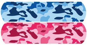 "Blue and Pink Camo, 3/4"" x 3"", Stat Strip, 100/bx, 12 bx/cs"
